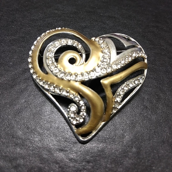 Chico's Jewelry | Sale Chicos Rhinestone Heart Brooch